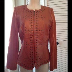 Peter Nygard  leather/knit embellished jacket, LNC